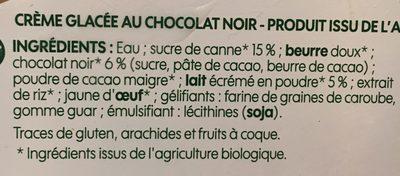 Vrac crème glacée chocolat noir bio - Ingredients - fr