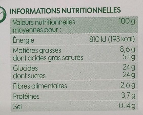 Vrac crème glacée chocolat noir bio - Nutrition facts - fr