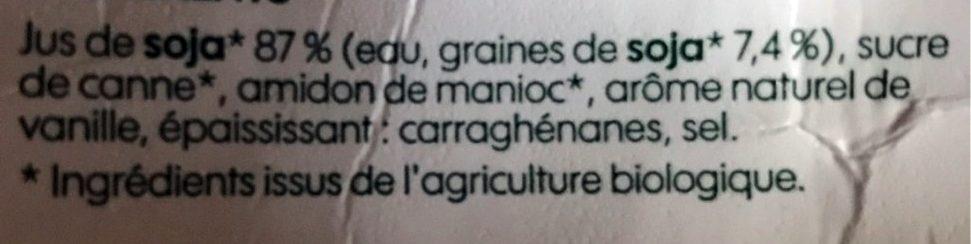 Dessert soja vanille bio - Ingrédients - fr