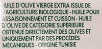 Huile d'olive vierge extra fruité bio - Ingrédients - fr