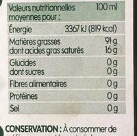Huile d'olive vierge extra fruité bio - Informations nutritionnelles - fr