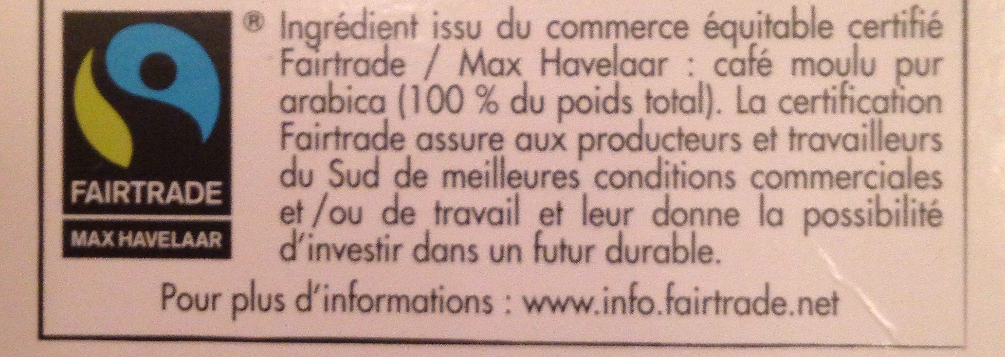 Capsules de café espresso bio Max Havelaar décaféiné x 10 - Ingredienti - fr