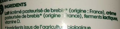 Fromage blanc au lait de brebis bio - Ingredients