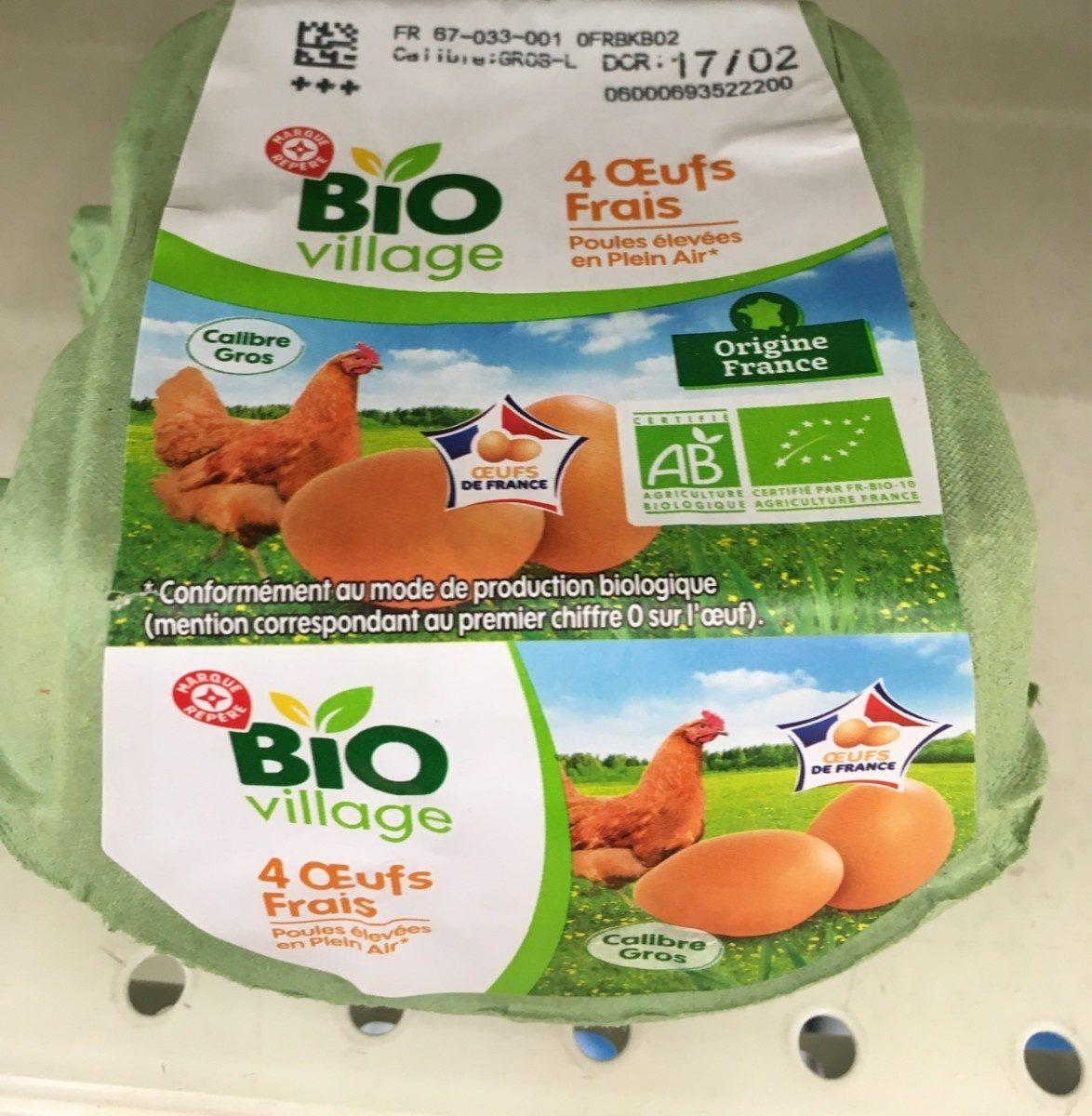 Oeufs biologiques de poules élevées en plein air x 4 - Ingrediënten - fr