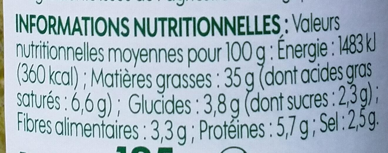 Pesto verde bio - Voedingswaarden - fr