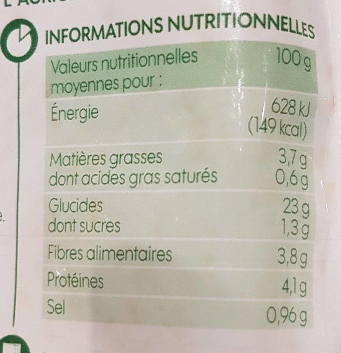 Duo de quinoa et riz à la tomate et aux olives bio - sachet - Nutrition facts - fr