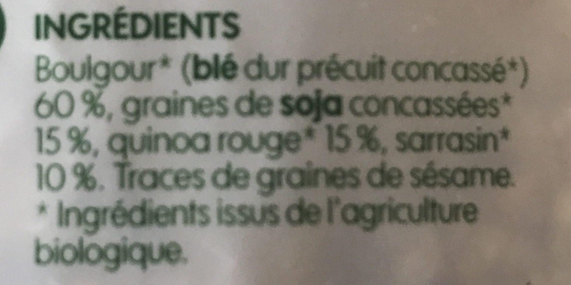 Mélange boulgour, soja, quinoa rouge et sarrasin bio - Ingredients