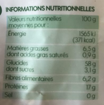Mélange boulgour, soja, quinoa rouge et sarrasin bio - Nutrition facts