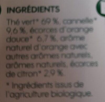 Thé vert Agrumes Cannelle - Ingrediënten