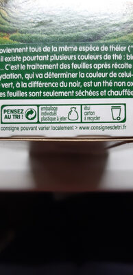 Thé vert nature bio x 20 sachets - Recyclinginstructies en / of verpakkingsinformatie