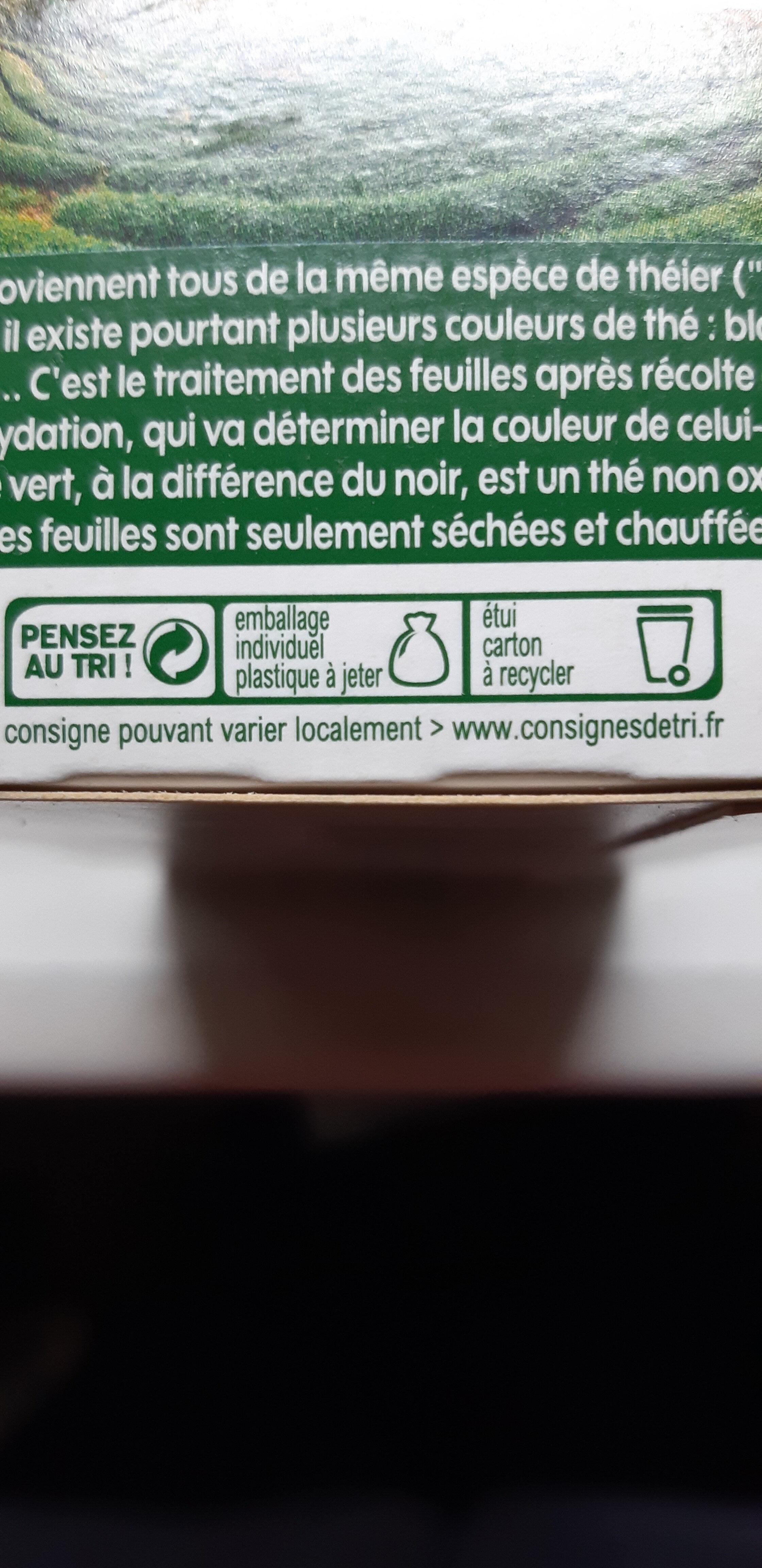Thé vert nature bio x 20 sachets - Recyclinginstructies en / of verpakkingsinformatie - fr