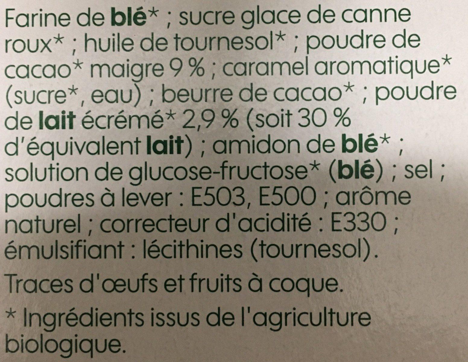 Biscuits cacaotés bio fourrés parfum vanille - Ingredients - fr