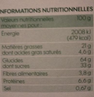 Biscuits cacaotés bio fourrés parfum vanille - Nutrition facts - fr