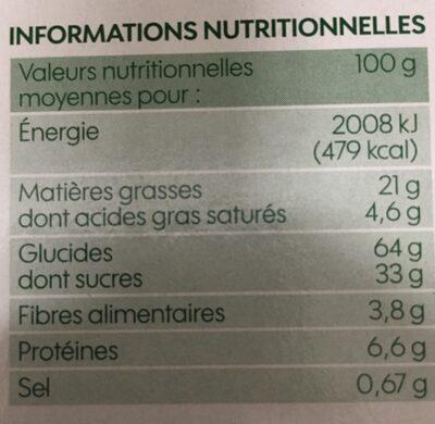 Biscuits cacaotés bio fourrés parfum vanille - Informations nutritionnelles - fr