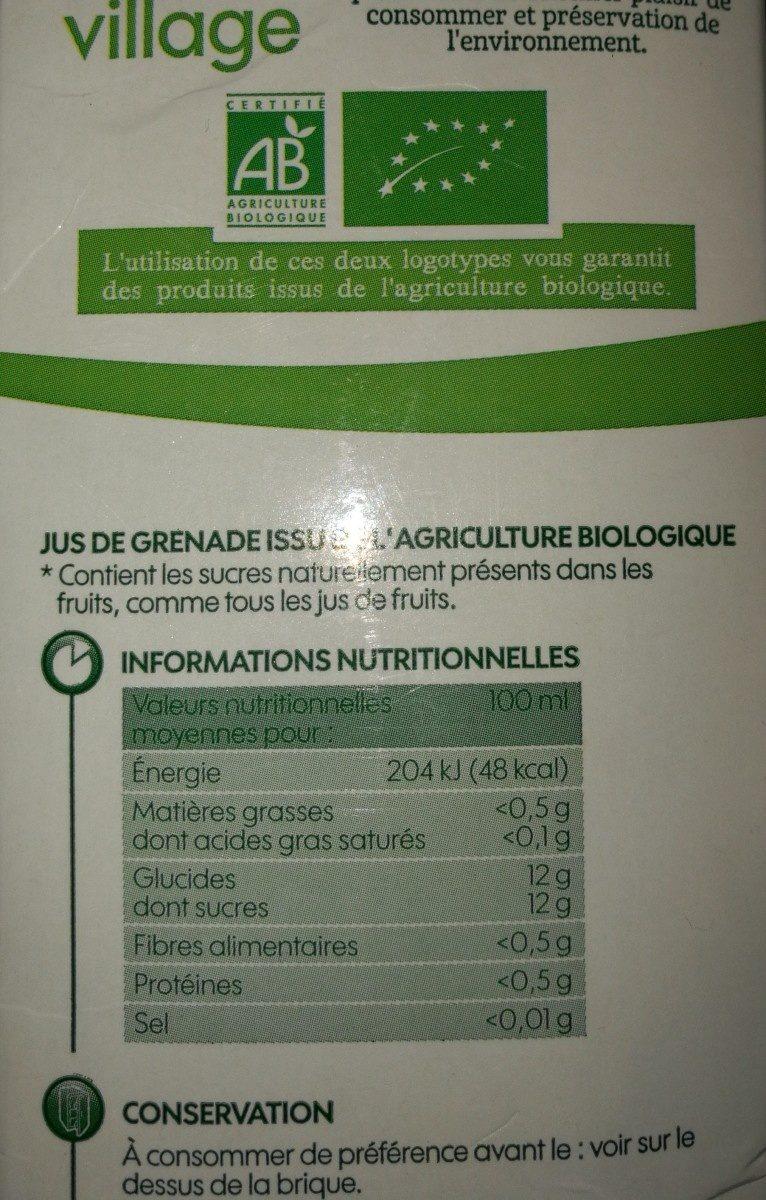 Pur jus de grenade bio - Ingrédients