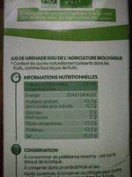 Pur jus de grenade bio - Informations nutritionnelles
