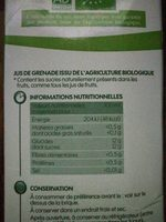 Jus de grenade 100% pur jus  Bio, sans sucres ajoutés - Voedigswaarden