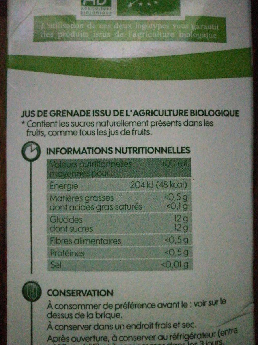 Pur jus de grenade bio - Voedingswaarden