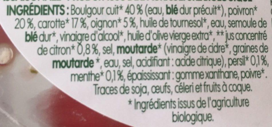 Salade de boulgour bio aux légumes - Ingrédients