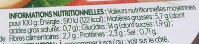 Salade de boulgour bio aux légumes - Informations nutritionnelles