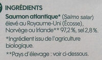 Emincés de saumon fumé bio - Ingredients