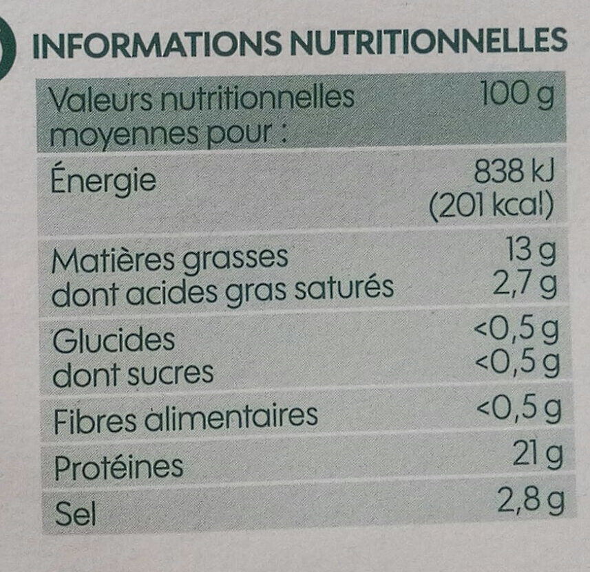 Emincés de saumon fumé bio - Nutrition facts