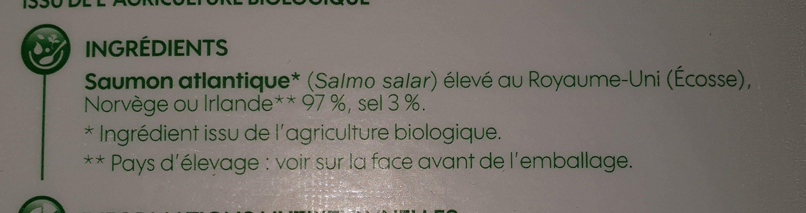 Saumon Atlantique fumé - Ingredients