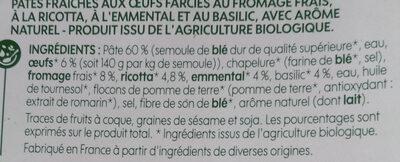 Ravioli emmental basilic - Ingrédients - fr