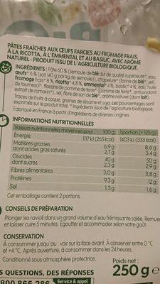 Ravioli bio emmental basilic - Ingrédients