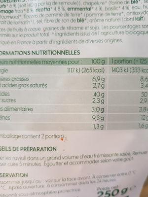 Ravioli bio emmental basilic - Informations nutritionnelles