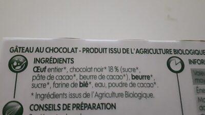 Coeur fondant chocolat noir bio x 2 - Ingrédients - fr