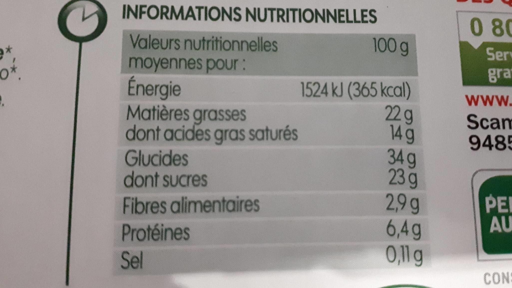 Coeur fondant chocolat noir bio x 2 - Informations nutritionnelles - fr