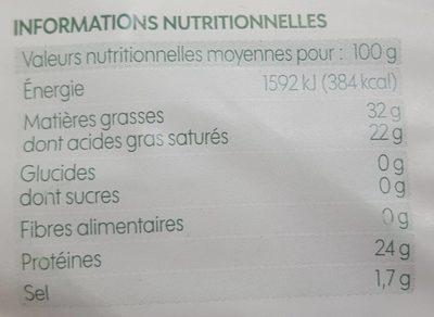 Gouda bio en tranches 32% Mat. Gr. - Voedingswaarden - fr