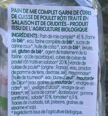 Sandwich club poulet crudités bio - Ingrédients - fr