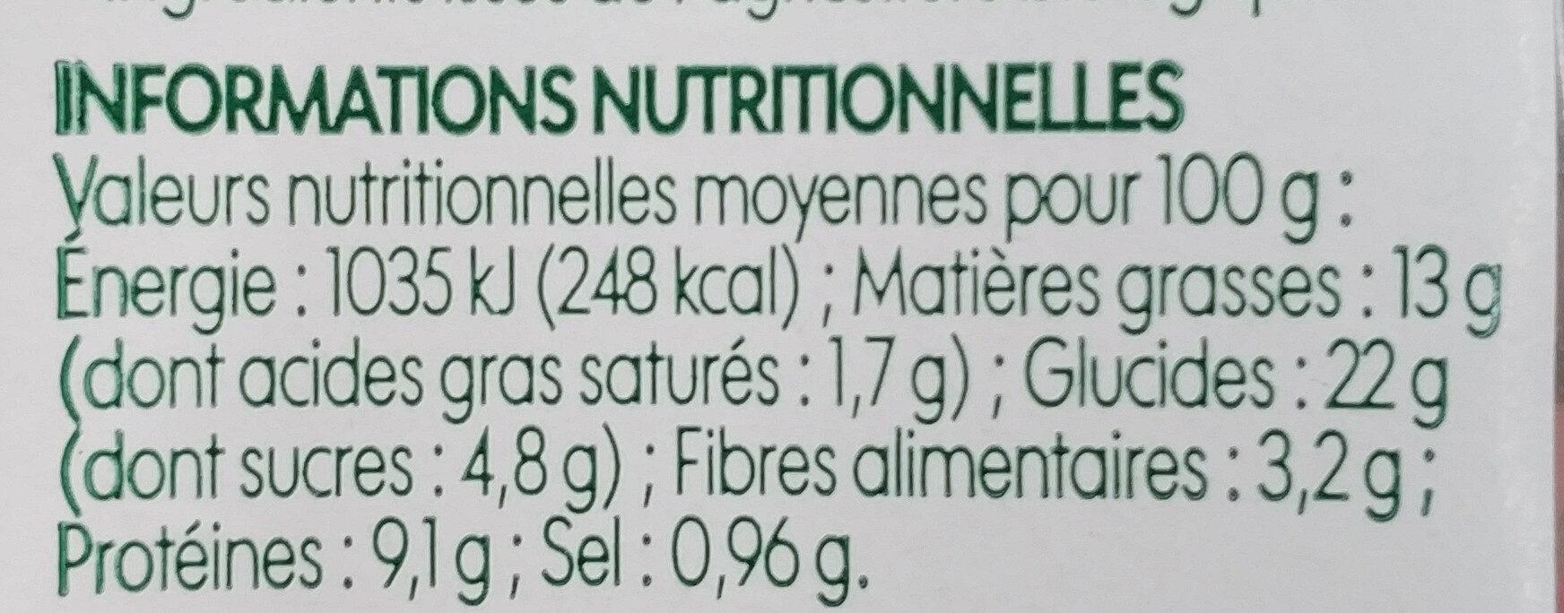Sandwich club poulet crudités bio - Informations nutritionnelles - fr