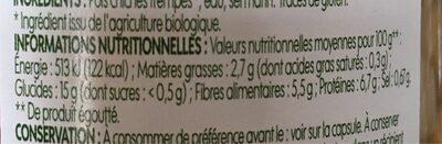 Pois chiches bio - حقائق غذائية - fr