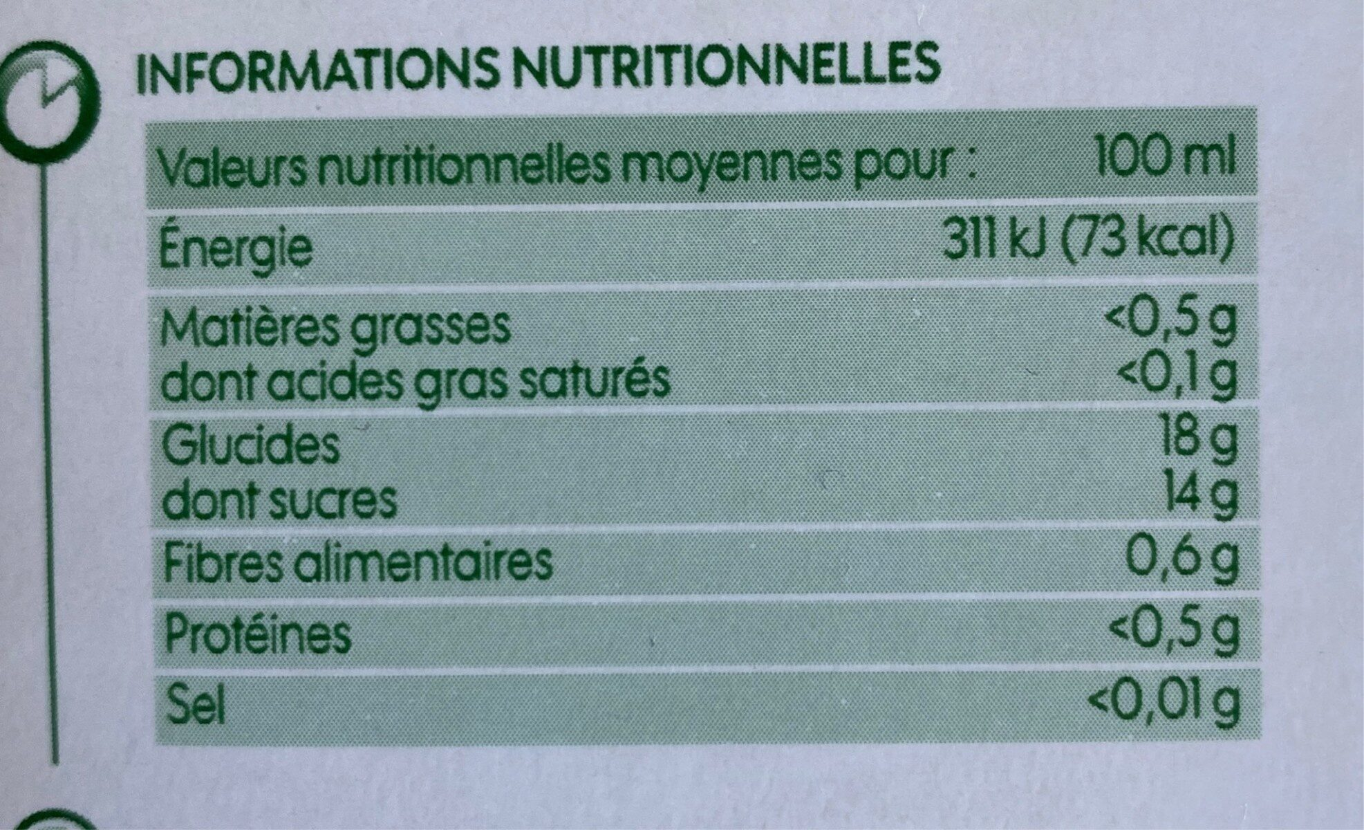 Pur jus de pruneaux bio - Nutrition facts - fr