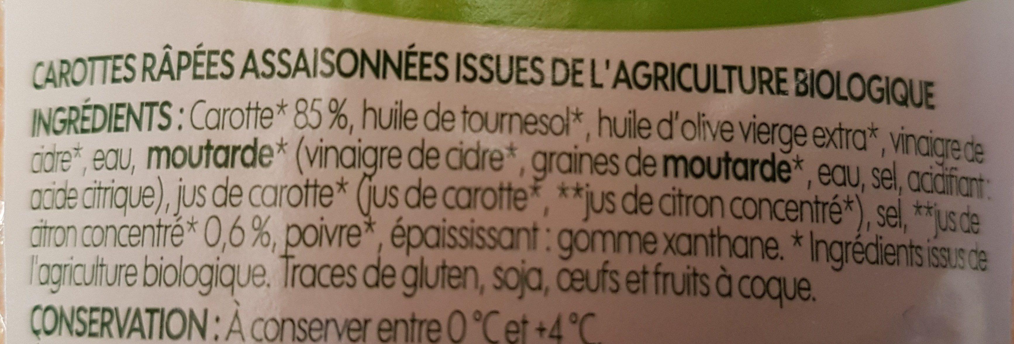 Carottes râpées bio - Ingrédients - fr