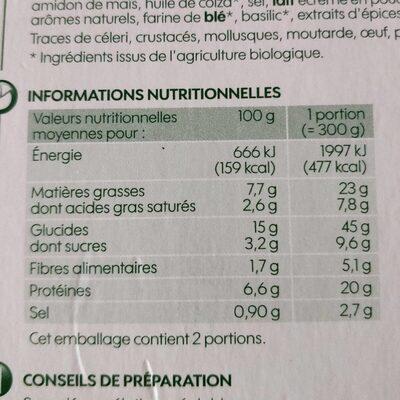 Lasagnes bolognaises bio 600g surg - Voedingswaarden - fr