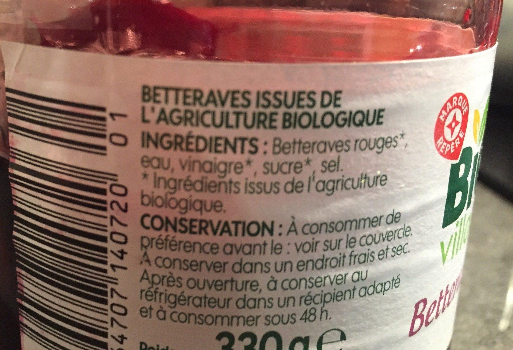 Betteraves rouges bio - Ingrédients - fr