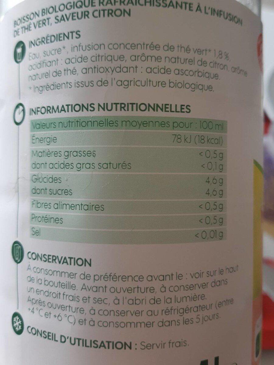 Boisson the infu bio citron pet - Voedingswaarden - fr