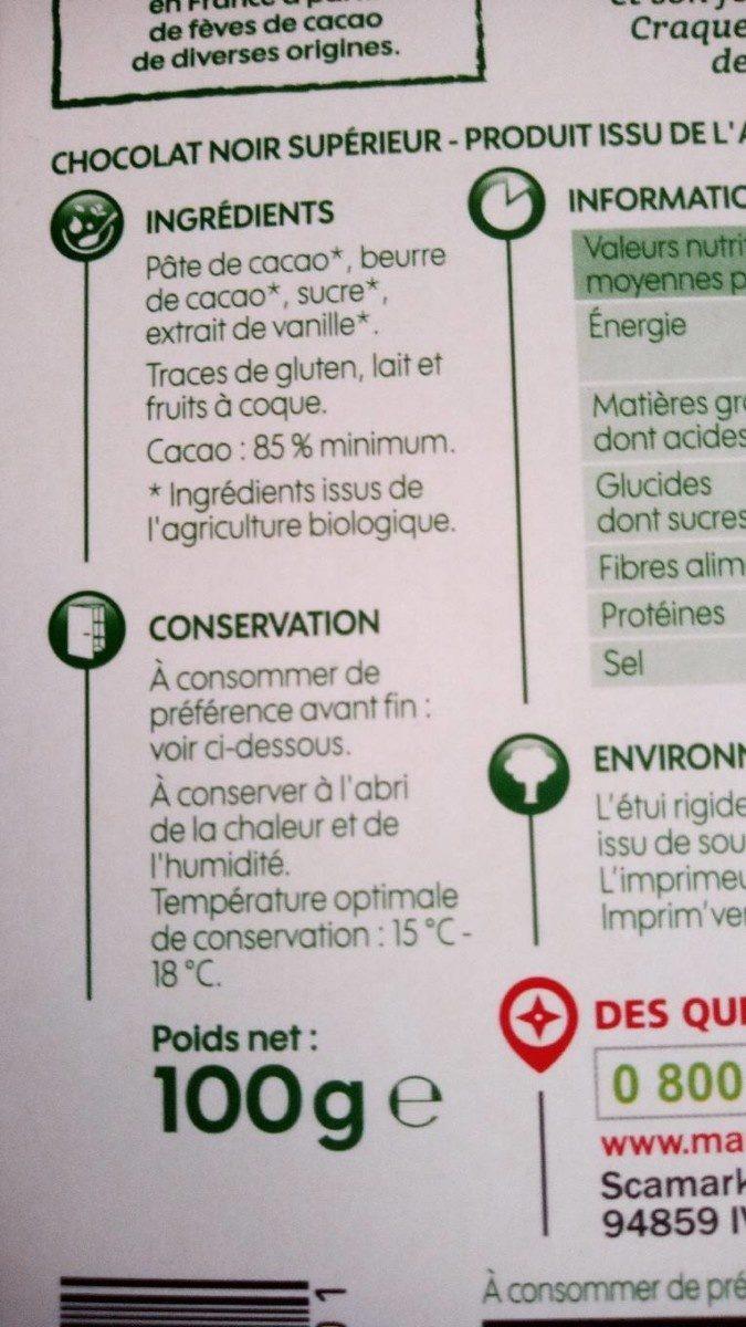 Chocolat noir dégustation 85% cacao bio - Ingrédients - fr