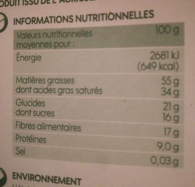 Chocolat noir dégustation 85% cacao bio - Informations nutritionnelles - fr