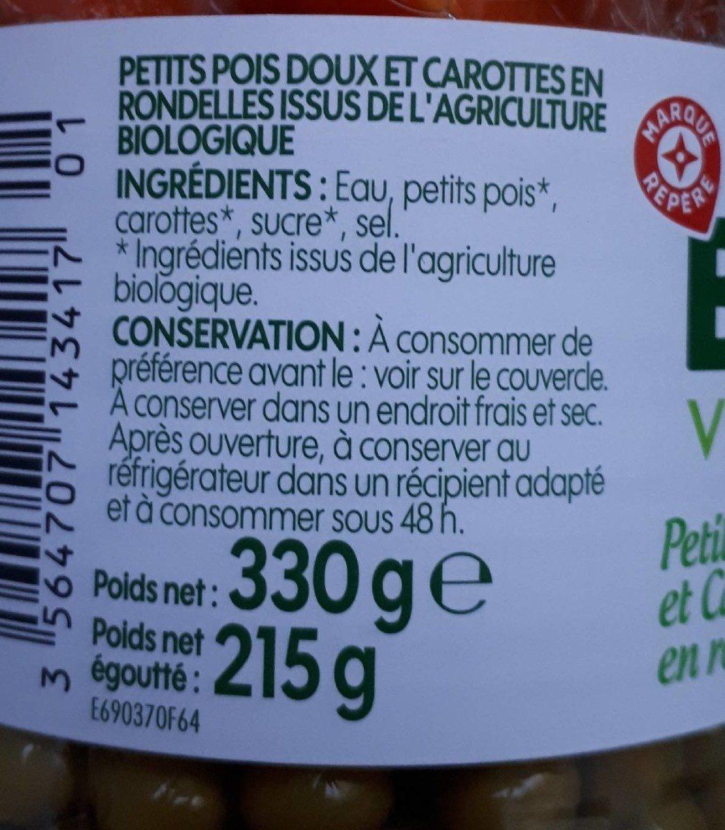 Petits pois et carottes en rondelles bio - Ingrédients - fr