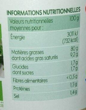 Mayonnaise à la moutarde Dijon - Nutrition facts