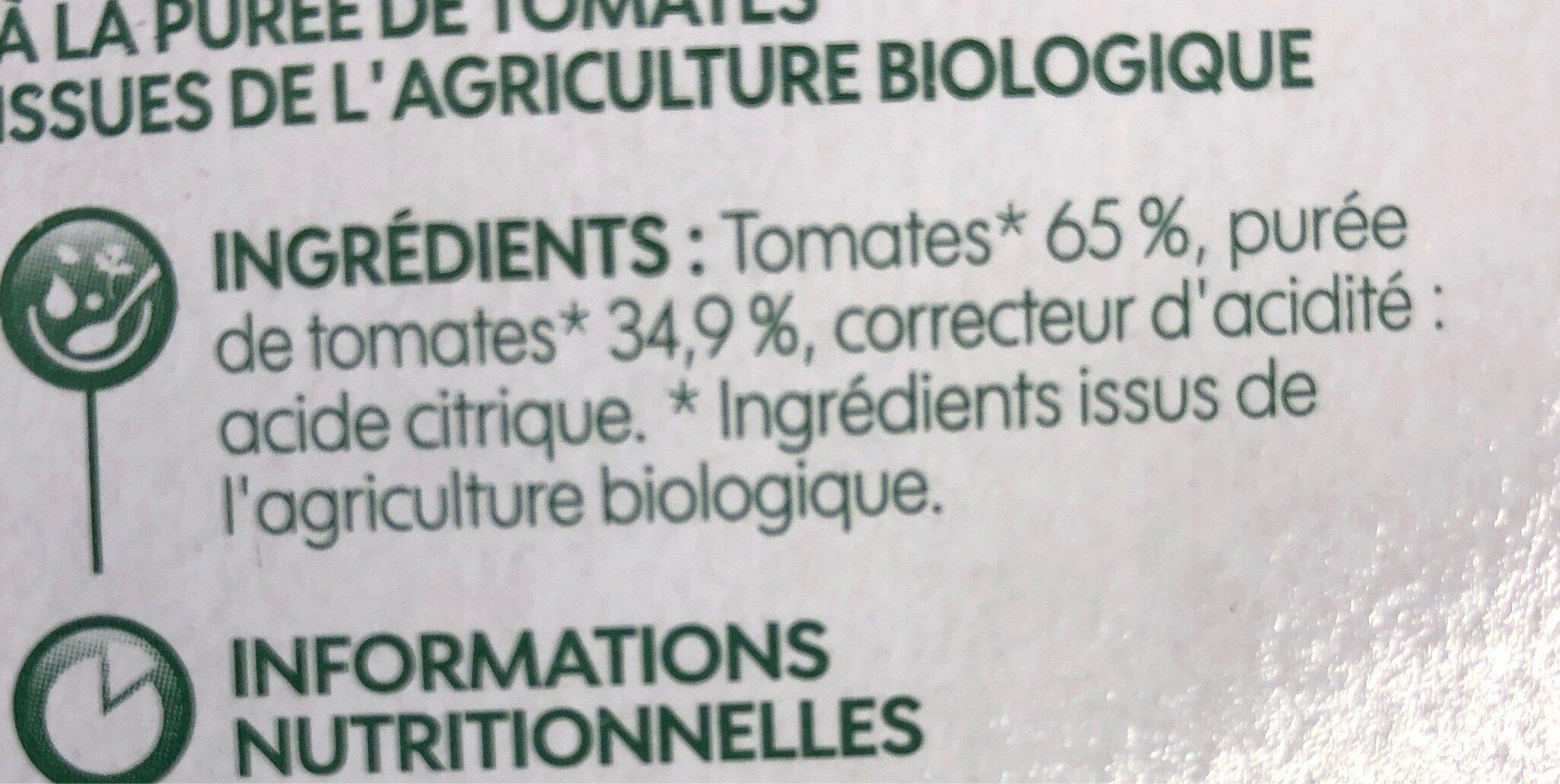 Pulpe de tomates en des bio - Ingrédients