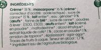 Tiramisu bio - Ingrédients