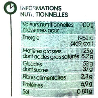 Crêpes chocolat noisette - Valori nutrizionali - fr