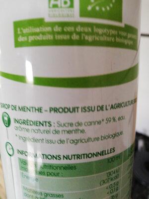 Sirop menthe bio bidon - Ingredients