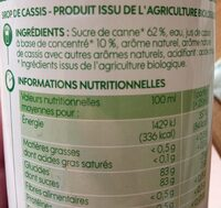 Sirop cassis bio bidon - Ingredients